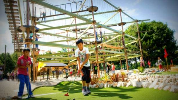 Children enjoying the Family Fun Park's Skytrail at Holme Pierrepont Country Park