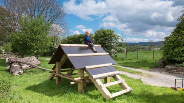 A child playing at Nelson Barn in Cumbria
