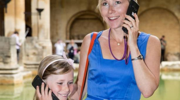 Mother and daughter take a tour of the Roman Baths