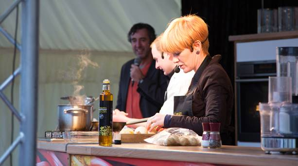 Chef performing at the Wakefield Food, Drink and Rhubarb Festival