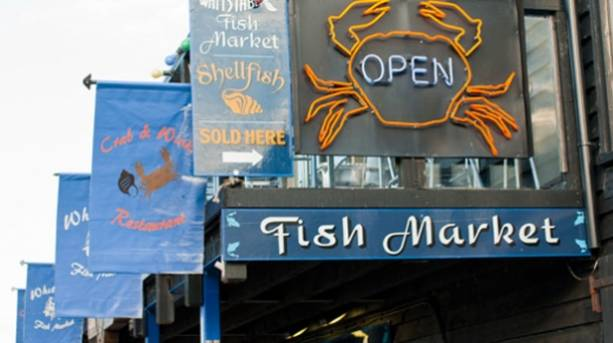 Fish market signs in Whitstable