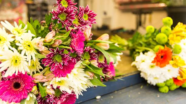 Fresh bouquets of flowers sold at Norwich Market