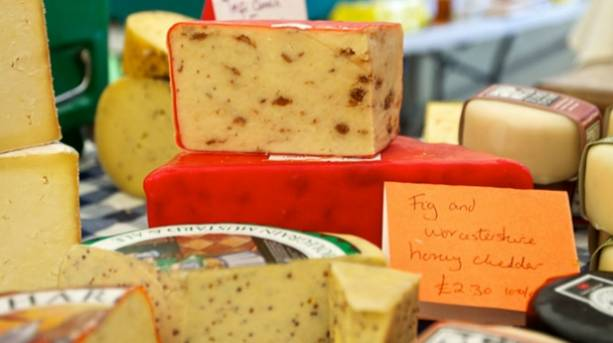 Cheeses at the Forest Food Show case