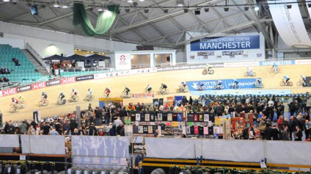 A group of cyclists at Manchester's Beer and Cider Festival