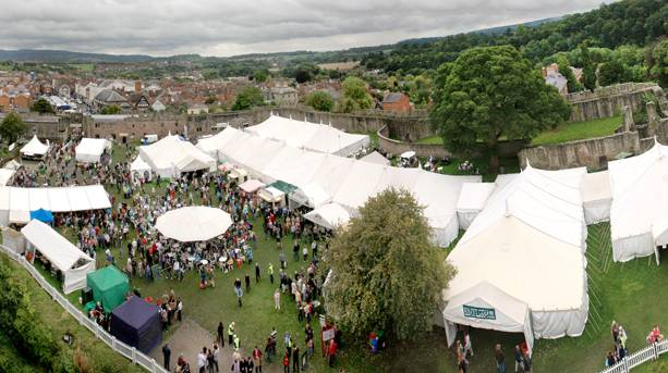 Crowds gather in the grounds of Ludlow Castle for the Food Festival