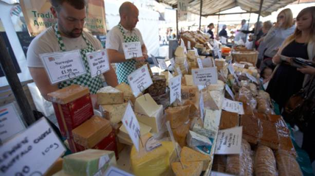 A cheese stall at a food market at Beverley Food Festival