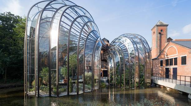Outside the Bombay Sapphire Distillery