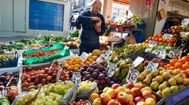 A fruit and veg market stall