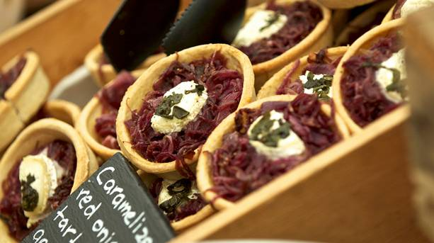 Caramelized red onion tarts