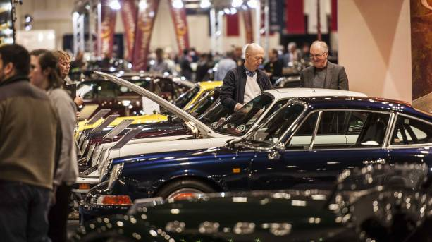 Browsing cars at the London Classic Car Show