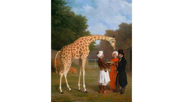 The Nubian Giraffe, Jacques-Laurent Agasse, 1827 - Oil on canvas  127.3 x 101.7 cm Credit ROYAL COLLECTION TRUST  ¬ HER MAJESTY QUEEN ELIZABETH II 2015