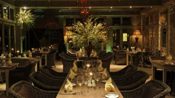 Garden Room Restaurant at Night at Coombe Abbey