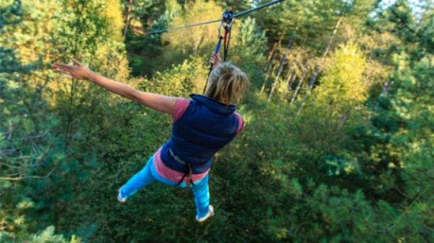 Getting to grips with the zip wire, Moors Valley Country Park, Hampshire