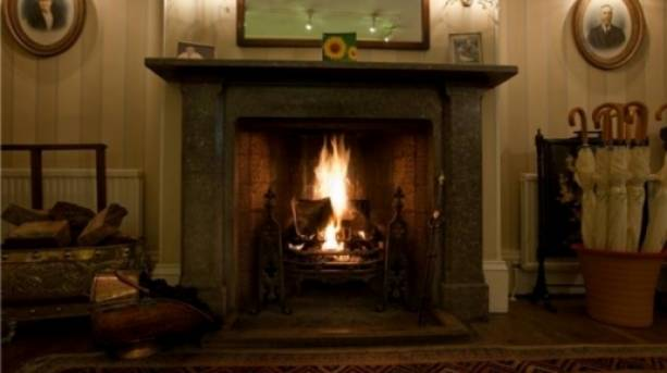 A fireplace at Goldstone Hall Hotel