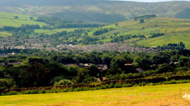 The market town of Glossop from High Peak.