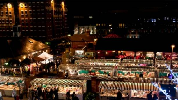 Ariel view of Victorian Christmas Market