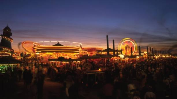 The Great Dorset Steam Fair lit up at night, Blandford, Dorset
