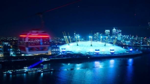 Emirates Air Line at night, view of The O2