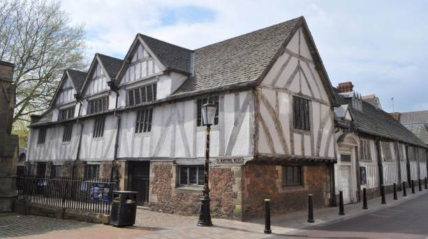 Leicester's medieval Guildhall with Cathedral in the background