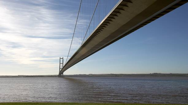 View down the length of the Humber Bridge