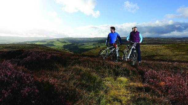 Cyclists in the Durham Dales