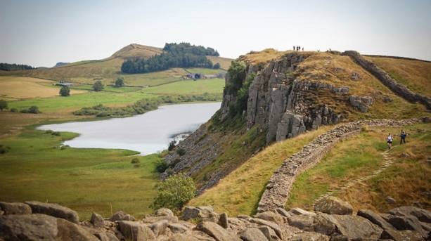Hadrian's Wall on top of whin sill outcrop