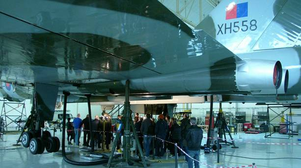 Getting up close while the XH558 is being serviced