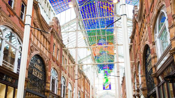 The Victoria Quarter stained glass ceiling, Leeds