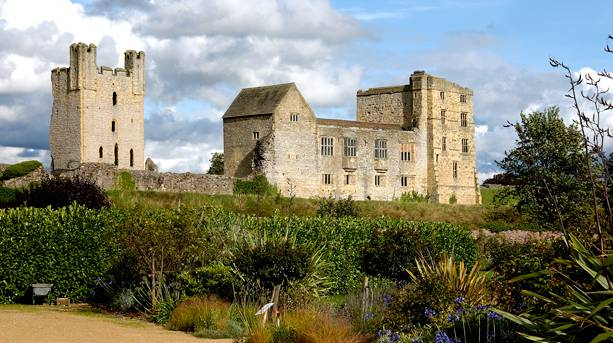 Helmsley Castle, the start of the delightful walk through bluebell woods to Rievaulx Abbey
