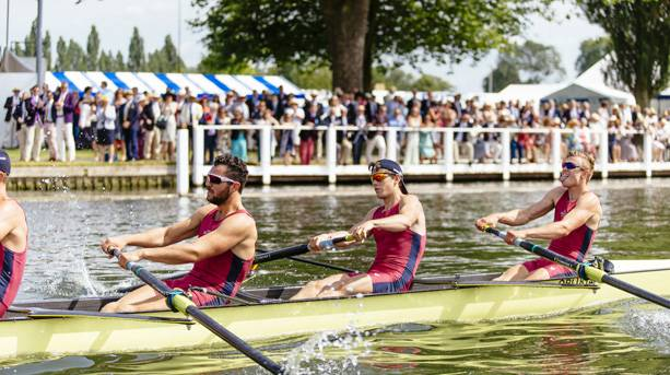 A rowing crew competing in the Henley Royal Regatta