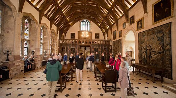 A crowd of people inside Berkeley Castle
