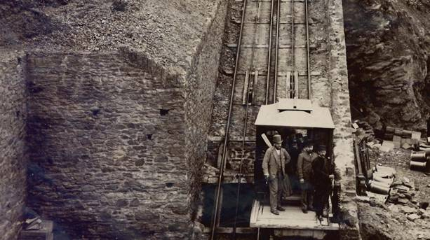 The newly constructed Lynton Cliff Railway – a feet of Victorian engineering