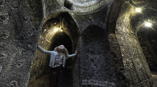 Little girl looking up at the Shell Grotto, Margate