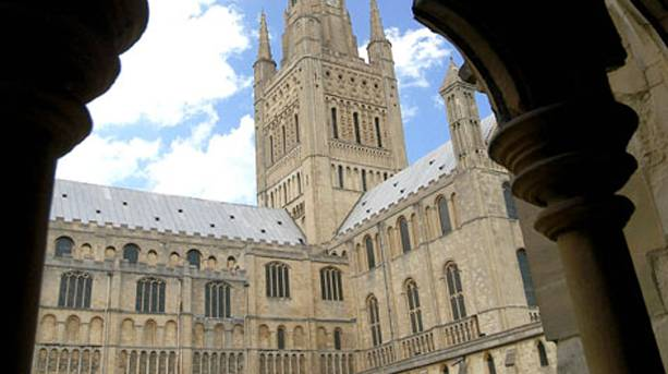 Norwich Cathedral Spire where Peregrine Falcons breed