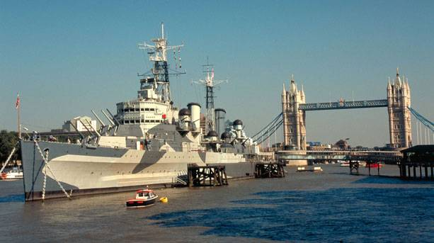 View of HMS Belfast with Tower Bridge in the background