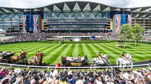 The Royal Procession enter the Parade Ring at Ascot Racecourse