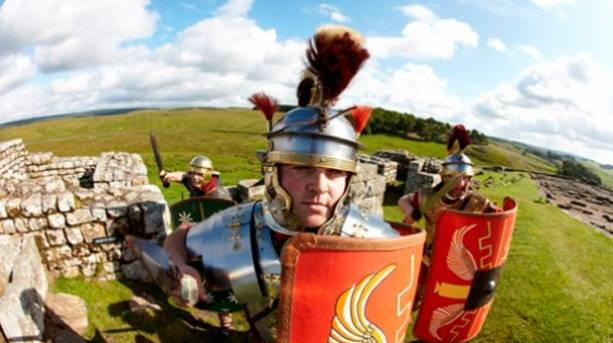 Men dressed as Romans at Housesteads Fort on Hadrian's Wall