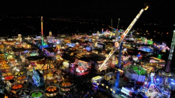 Nighttime view of Hull Fair