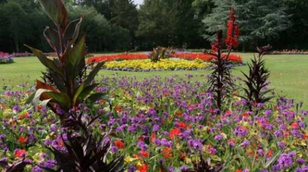 Beautiful gardens within the park area offer delightful displays