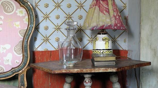 Close-up of a painted lampshade at Charleston