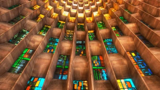 Stain glass windows inside Coventry Cathedral