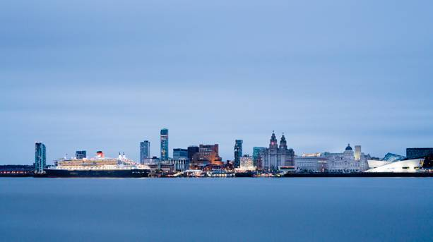 Cunards' QM2 on berth at Liverpool's Waterfront