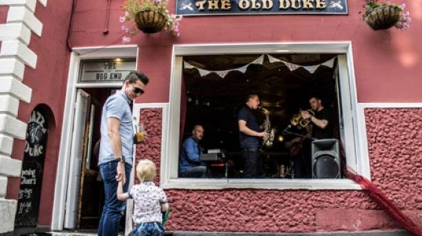 A band playing jazz inside The Old Duke pub