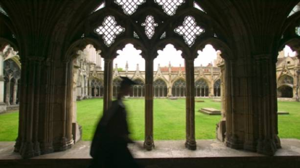 A view of the cloisters at Canterbury Cathedral
