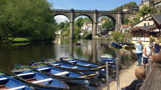 Knaresborough Viaduct with rowing boats