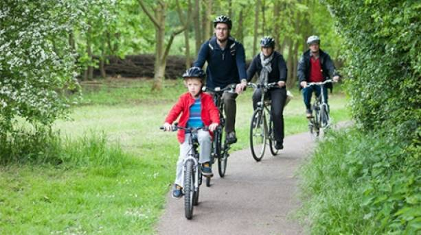 Cycling in the park for the whole family