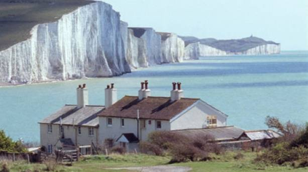 Coastguard Cottages and white cliffs in the distance