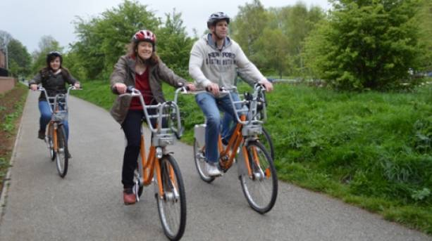 Cycling a hire bike in Lincoln