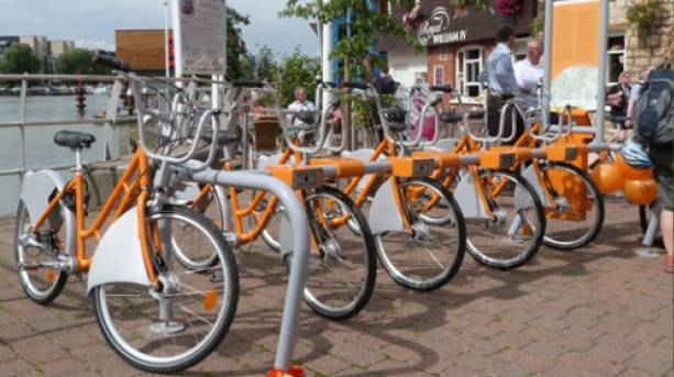 The hirebike station on the Brayford Waterfront