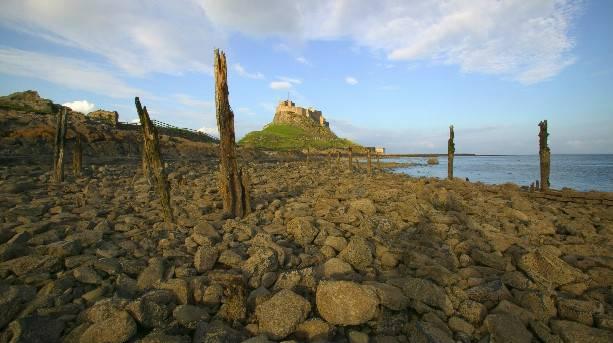 Lindisfarne Castle and sea